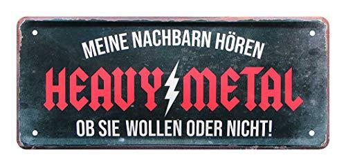 Heavy Metal Deko Schild für zu Hause, Proberaum, Werkstatt, Garage - Metallschild für Metal Fans mit witzigem Spruch - Black Metal, Gothic Metal, Trash Metal, Power Metal, Hard Rock - 28x12cm