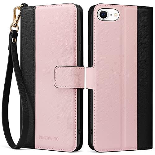 Pinzoveno Hülle für iPhone SE 2020 iPhone 8 hülle iPhone 7 Handyhülle, Premium PU Leder Schutzhülle Abdeckung Tasche Flip Hülle Brieftasche Etui Schutzhülle für iPhone SE 2020/8/7(4,7 Zoll) Rosa