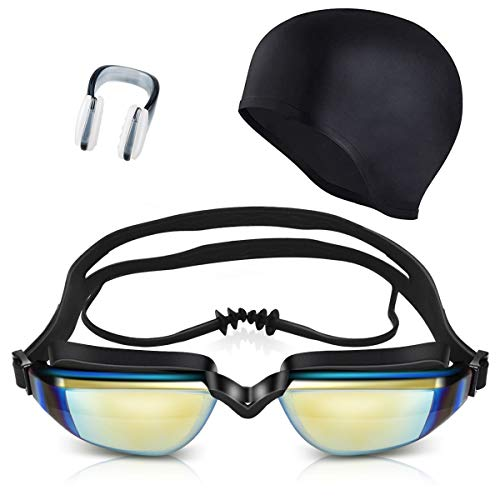 Tekiss Swimming Goggles with Ear Plugs, Swimming Cap for Adults with No Leaking Anti Fog UV Protection for Men & Women Swim Goggles (01Black)