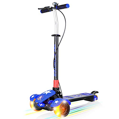 VOKUL Scooter for Kids, 3 Wheel Toddler Scooters Foldable 5 Height Adjustable Lean-to-Steer with LED Light-up Wheels, Best Gifts for Boys Girls Children Teens, Ages 2-14 Years Old (Blue)