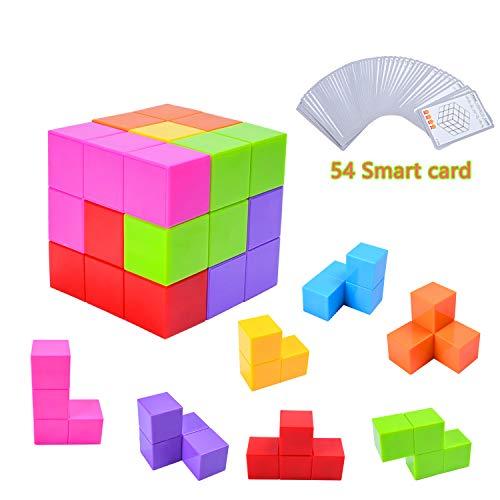 EKKONG Magnetische Würfel für Kinder mit 54 Smarte Teile Puzzles 3D Gehirn Training Intelligenz Spielzeug Spiele,Magnetische Bausteine, Für 1.2.3.4-jährige Puzzles für Kinder