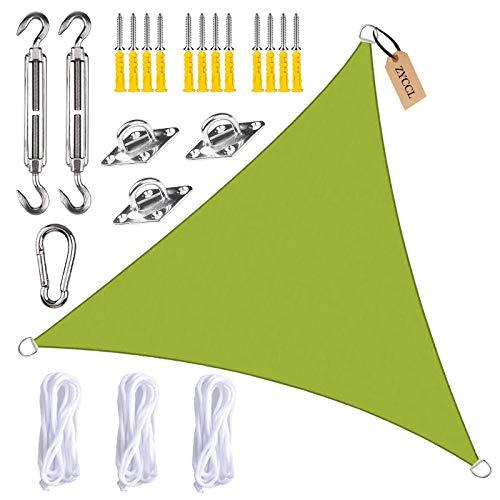 ZYCCL Toldo de vela con kit de fijación, triángulo, impermeable, antiUV, para patio, terraza, jardín, actividades al aire libre, amarillo, verde, 3 x 4 x 5 m