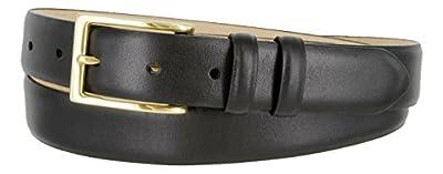 Adam Gold Men's Genuine Italian Calfskin Leather Dress Belt (36, Smooth Black)