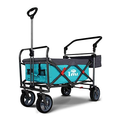 TMZ Faltbarer Wagen All-Terrain-Räder Gartenwagen mit Einer Fußbremse, Patentierte um 360 Grad drehbare-leise Räder, 90 Liter Lagerung, integrierte Vorderradlenkung Transportwagen Last bis zu 120 kg