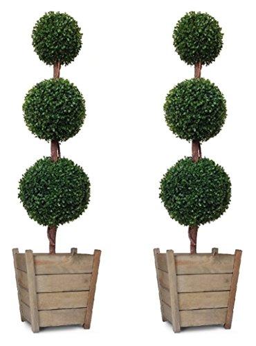 Hochwertige, künstliche Buchsbäume mit 3 Laubkugeln, 120 cm, 2 Stück