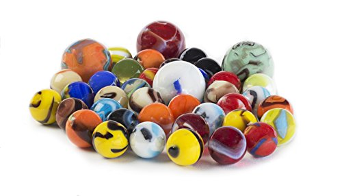 My Toy House Glass Marbles Bulk, Set of 40, (36 Players and 4 Shooters) Assorted Colors, with Game Marbles Rules