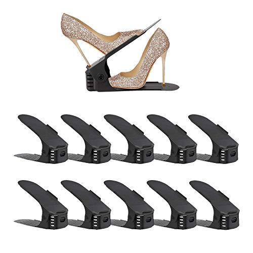 Soerreo - Zapatero ajustable con ranura para zapatos, ideal para tacones altos, zapatillas y sandalias, juego de 10 piezas