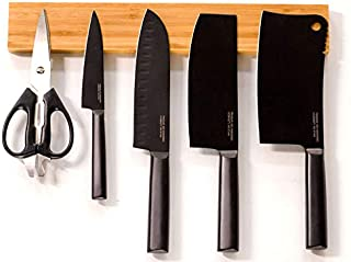 Sooyee Eco Friendly Mounting Bamboo Magnetic Knife Strip, Magnetic Knife Holder, Knife Magnet by Cooking Tree - 16 inch Powerful Magnetized Strip and Block for Storing and Organizing Knives