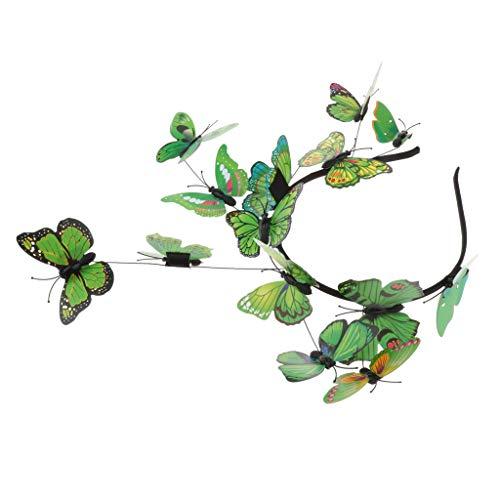 Damen Mädchen Schmetterling Haarreif Haarband Stirnband Haarschmuck Fotografie Requisiten, Farbewahl - Grün