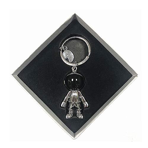 FOLA Spaceman Keychain Creativo Llavero de Metal Llavero de Metal Mochila Hombres Colgante Llavero para Novio llaveros para Hombres (Color : Silver)