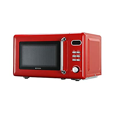 ROVSUN 0.7 Cu.ft Retro Countertop Microwave Oven, 700W, 5 Micro Power, Auto Cooking & Delayed Start Function, with Glass Turntable, Viewing Window, Child Lock, ETL Certificated (Red)