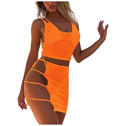 Bademode Damen IFOUNDYOU 2020 Mode Frauen in Bikini Set Sexy Hot Trend Schön Einfarbig Transparent Mesh Tank Top + Unregelmäßiger Rock +Dreieck Oberteil + Tanga Mädchen Beachwear Neon