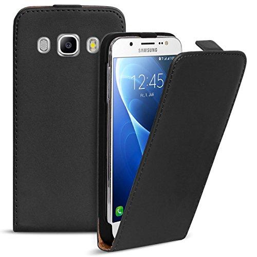 Conie BF31467 Basic Flip Kompatibel mit Samsung Galaxy J7 2016, PU Leder Hülle Cover Klapphülle für Galaxy J7 2016 Tasche Schwarz