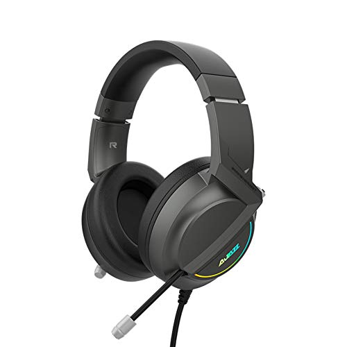 Jiudong Auriculares Gaming con Micrófono Sonido Envolvente 7 1 con Cable sobre La Oreja Auriculares USB para Ordenador Gaming con Orejeras Suaves con Luz LED Controlador de 50Mm para Mac