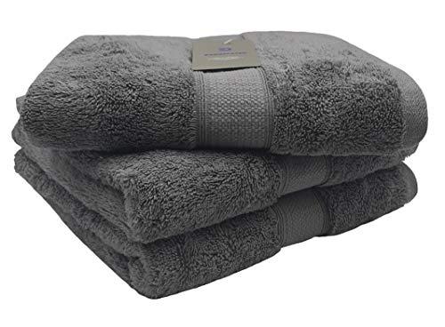 Bademayer Fusselfreies Frottier Handtuch 3er-Set aus100% Ägyptischer Baumwolle Giza extra saugstark und weich 50 x 100 cm 600 g/m² Premium Qualität (Grau)