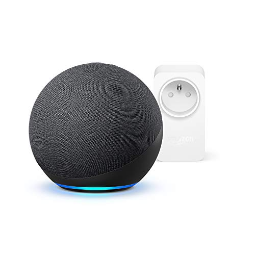 Nouvel Echo (4e génération), Anthracite + Amazon Smart Plug (Prise connectée WiFi), Fonctionne avec Alexa