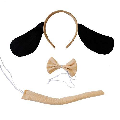 Hunt Gold Juego de diadema con orejas de perro con lazo y cola para disfraz de animal para niños