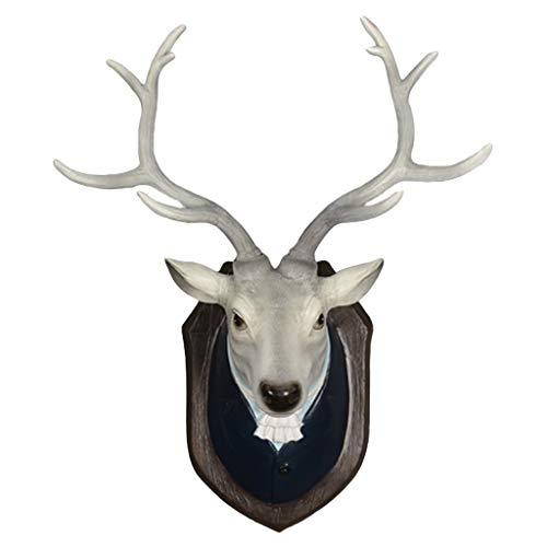 LIUBINGER Escultura Cabeza de Ciervo simulación Colgante de Pared Retro salón estéreo Animal Escultura 3D Resina 20 * 40 * 51 cm Manualidades
