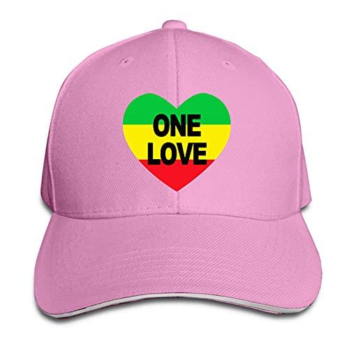 XCNGG Gorra para Hombres y Mujeres, One Love Rasta Gorra Tipo sándwich con Pico Ajustable Casquette Sombrero de Vaquero