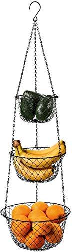 malmo 3-Tier Wire Fruit Hanging Basket, Vegetable Kitchen Storage Basket (Black)