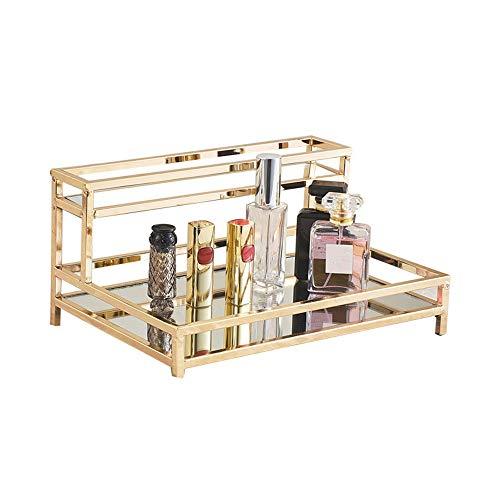 NgMik Bandeja Moderna Bandeja de Maquillaje de polígono Organizador Bandeja Decorativa para vanidad, cómoda, baño, Dormitorio Decoración de la Bandeja otomana (Color : Gold, Size : One Size)