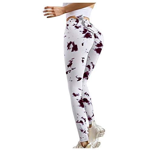 NAQUSHA Las mujeres de impresión suave de cintura alta control de abdomen estiramiento Strethcy Butt Lifting Scrunch Gym Leggings Yoga Pantalones Running Medias