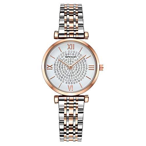 Mujeres Relojes, Allskid Anular Gypsophila Artificial Rhinestone Decoración Números Romanos Marcar Acero Correa de Reloj Cuarzo Reloj de Pulsera