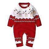 Geagodelia Baby Jungen Mädchen Gestrickter Strampler Weihnachten Babykleidung Schlafstrampler Neugeborene Kleinkinder Weiche Kleidung Weihnachtsoutfit (0-6 Monate, Rot - Elch)