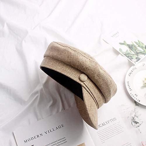 mlpnko Boina de algodn y Lino Transpirable Sombrero estreo Femenino Salvaje Inglaterra Gente de la Calle Boina Octogonal Caqui M (56-58cm)