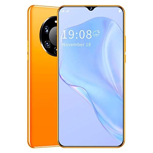 Smartphone, Mate45 Pro + 6.26in Pantalla Completa 8GB + 1GB 5MP Cámara HD Tarjetas SIM Dobles Teléfono Celular para Android, Desbloqueo de Huellas Dactilares en la Cara Teléfono móvil(Amarillo)