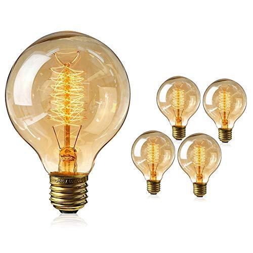 Gluehbirnen Vintage, 4 Stück Edison Vintage Glühbirne E27 40W Retro Glühbirne Antike Beleuchtung Globe Glühlampe Warmweiß E27 Nostalgie Lampe für Retro Beleuchtung im Haus Café Esstisch Industrie