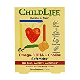 ChildLife Essentials Omega-3 DHA + Choline SoftMelts - for Infants, Babies, Kids, Toddlers, Children, and Teenagers - Natural Passionfruit Flavor - 27 Tablets