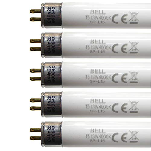 Bell Lighting,5 Satz von 13W T5 525mm 21' Leuchtstoffröhren Kühles Weiß 4000k G5 Cap Bell-Lighting 05412