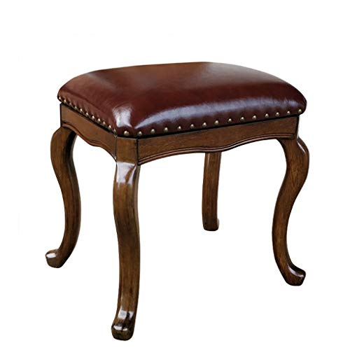 Vanity Benches Dressing Stool Solid Wood Makeup Stool Simple Shoe Bench Bedroom Leather Stool Fashion Dressing Chair (Color : Brown, Size : 33x47x45.5cm)