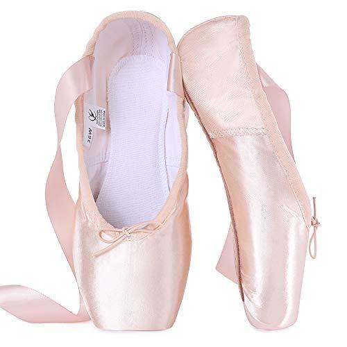 tanzdunsje Zapatillas de Punta de Ballet Zapatillas de Baile Profesionales Rosadas con Cinta Cosida y Almohadillas de Silicona para niñas y Mujeres (Consejos para Elegir una Talla más Grande)
