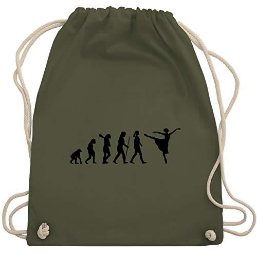 Shirtracer Evolution - Ballett Evolution Arabesque - Unisize - Olivgrün - ballett für kinder - WM110 - Turnbeutel und Stoffbeutel aus Baumwolle