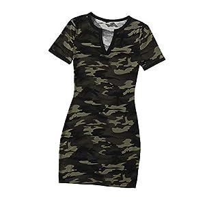 SheIn Women's Short Sleeve Camo Mini T-Shirt Dress Camouflage Round Neck Short Dress Tunic