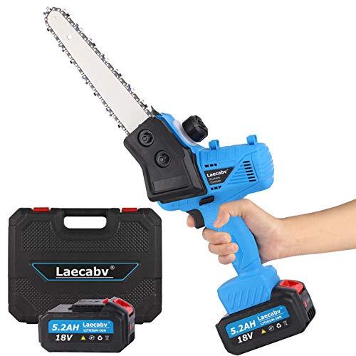 Laecabv Mini Motosega Elettrica 7-Inch 18cm Sega a catena con una mano Cordless Miniatura Motosega da Potatura con 2Pcs 5.2Ah Litio Batteria per Taglio legno, Ramo d'albero Giardino (Blu)