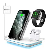 WAITIEE Wireless Charger, 3 in 1 Qi-Certified 15W Fast Charging Station for Apple iWatch Series SE/6/5/4/3/2/1,AirPods, Compatible for iPhone 12/11 Series/XS MAX/XR/XS/X/8/8 Plus/Samsung (White)