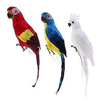 Amuzocity 3xリアルな人工鳥の羽の家の庭の装飾
