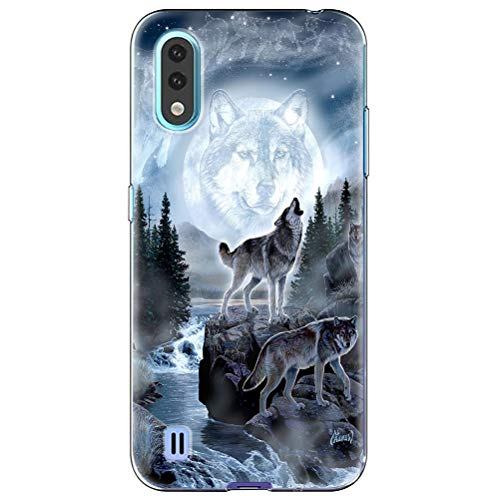 Eouine for Samsung Galaxy A01 Case, Phone Case Transparent Clear with Pattern Ultra Slim Shockproof Soft Gel TPU Silicone Back Cover Bumper Skin for Samsung Galaxy A01 Smartphone. (Wolf)
