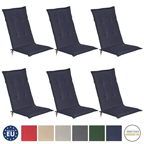 Beautissu 6er Set Loft HL Hochlehner Auflagen Set dunkelblau 120x50 cm Sitzkissen Gartenstuhlauflage Stuhlkissen Schaumkern-Füllung mit Oeko-Tex - UV Lichtecht