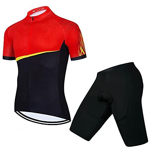 Set di Maglie Abbigliamento da Ciclismo da Donna, Maglia da Ciclismo da Donna Set Pantaloncini con Bretelle Imbottiti in Gel Traspirante for Bici da Strada 3D (Color : A, Size : 3X-Large)