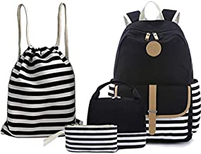 BAGTOP School Backpack Set - Canvas Teen Girls Bookbags 15