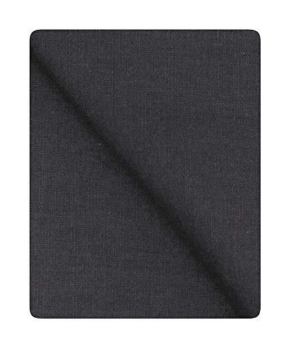 Bini Fabrics Algodón Khadi de 45 pulgadas de ancho, tela de algodón Khadi, color negro carbón, se puede utilizar para vestidos, manualidades, etc. (4 metros)