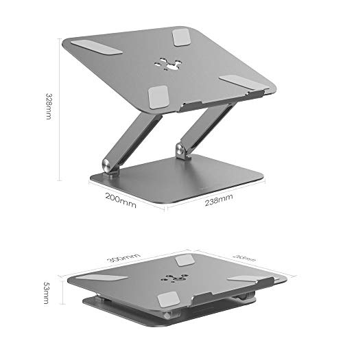 BTMING Adjustable Height with Multiply Angle Laptop Notebook Stand with Adjustable Riser Compatible for MacBook Pro/Air, Surface Laptop (Color : L5 grey)