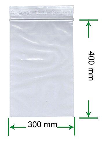 HeiZip 500 x Druckverschlussbeutel 300 x 400 mm, 90 mµ/MY (extra stark), Transparent, Unbedruckt, Wiederverschliessbar, Lebensmittelecht