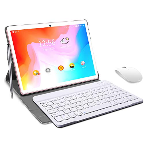 Tablet 10 inch, HD Touchscreen 2-in-1 Tablet with Keyboard Case Computer Quad-Core 1.3Ghz Processor 4G+64GB Harddrive Android 9.0 GO Tablets, Support 3G Phone Call, Type-C,BT4.2 GPS FM 4G WiFi- (Pink)