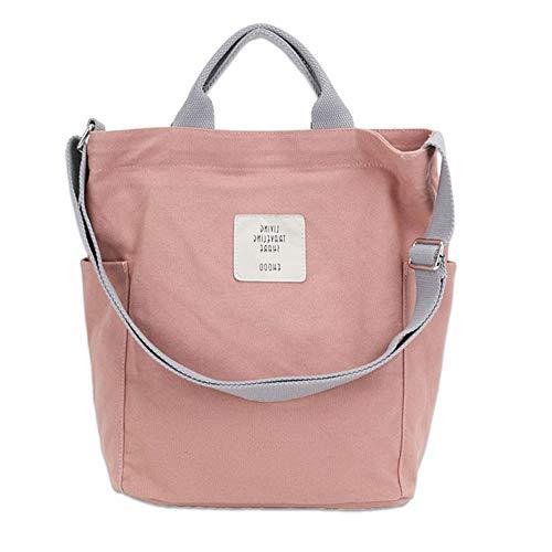 KIWITECH Umhängetaschen groß Tasche Canvas Damen Rosa Handtasche Damen Schultertasche Crossbody Bag Shopper für Schule Shopping Arbeit Einkauf -Rosa