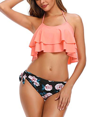 Aqua Eve Women Halter Flounce Bikini Ruffle Swimsuits Two Piece Teens Bathing Suits Pink X-Small